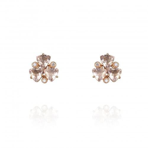 Atelier Mon Gold Peach Quartz & Zirconia Lilly Studs
