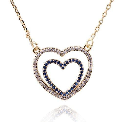 Blue Double Heart Cz Pendant