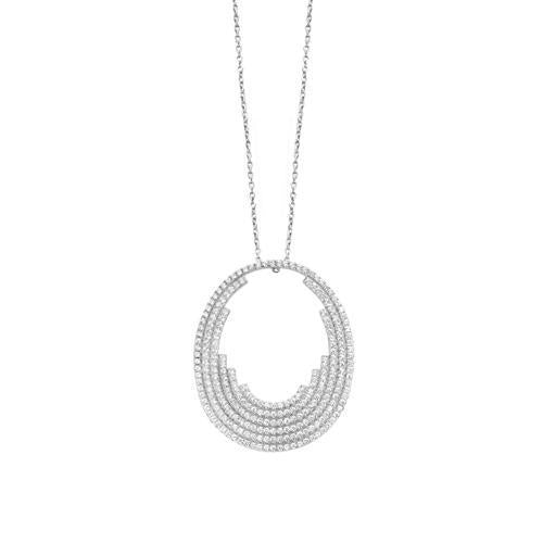 White Gold Oval Graduating Cz Pendant