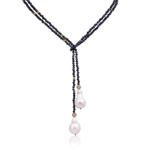 In2 Designer Collection Blue Sapphire Beads & Boraque Pearls Tie Front Necklace