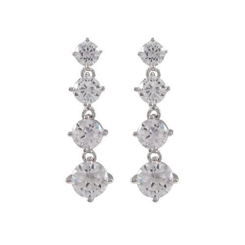 White Gold Graduating Cz Earrings
