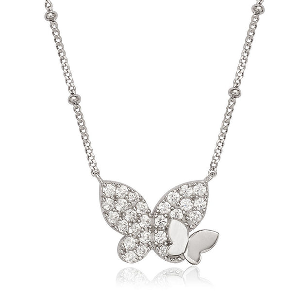 Beaded Chain CZ Butterfly & Polished Butterfly Pendant