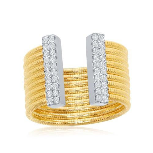Ribbed Lined CZ Tips Ring In Yellow Gold