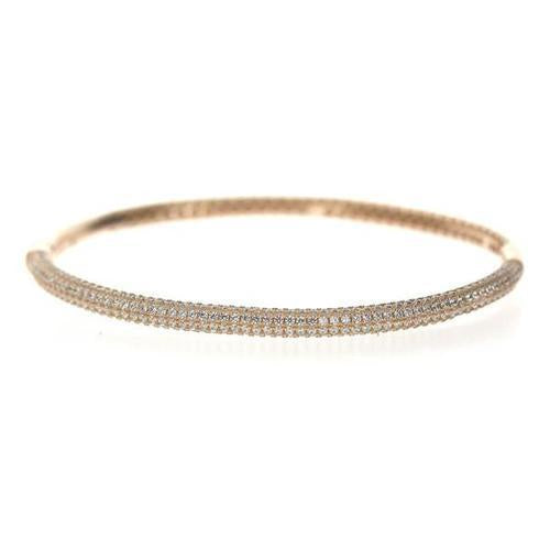 Rose Gold Cz Row Bangle