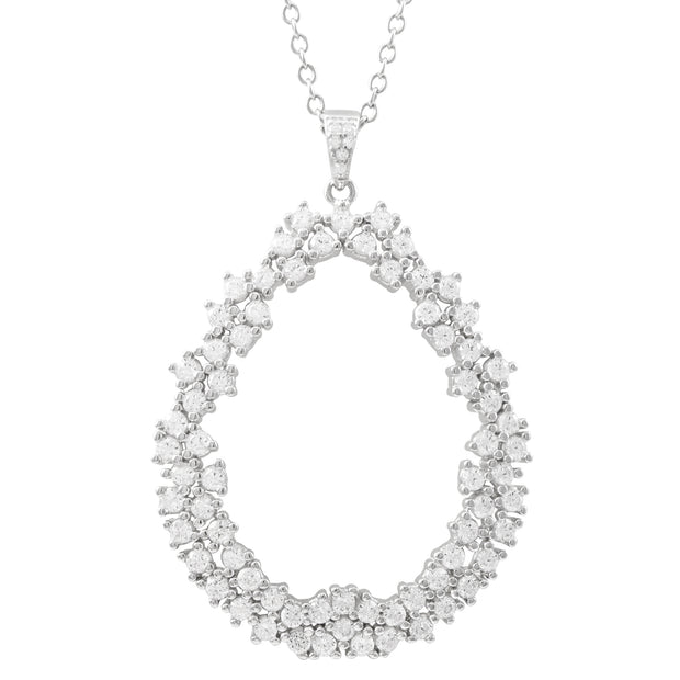 White Gold Cz Double Row Teardrop Pendant