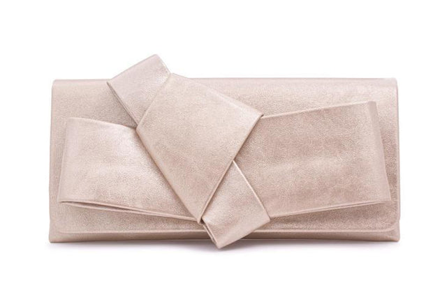 Gold Nappa Clutch Origami Bow Bag