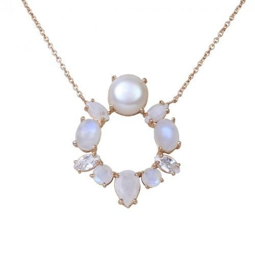 Atelier Mon Gold Plated Moonstone & Pearl Pendant