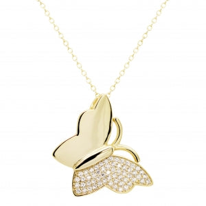 Gold Polished & CZ Butterfly Pendant