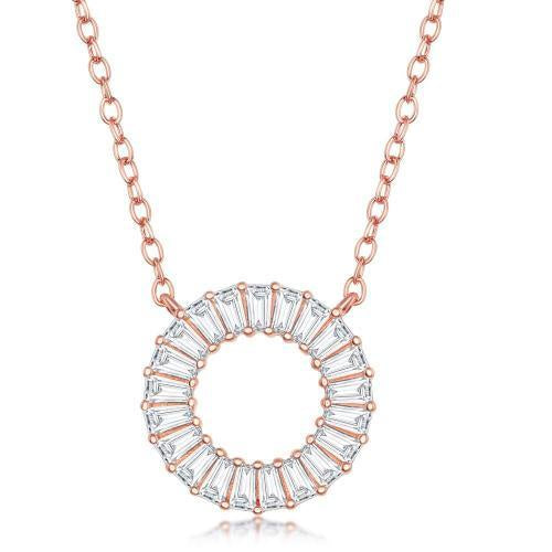 Rose Gold Small Open Circle CZ Baguette Pendant