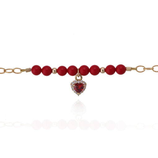 "4.5"" Red & Gold Beads CZ Heart Charm Bracelet"