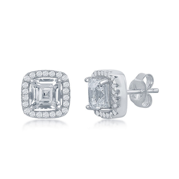 White Gold Square Cz Halo Stud