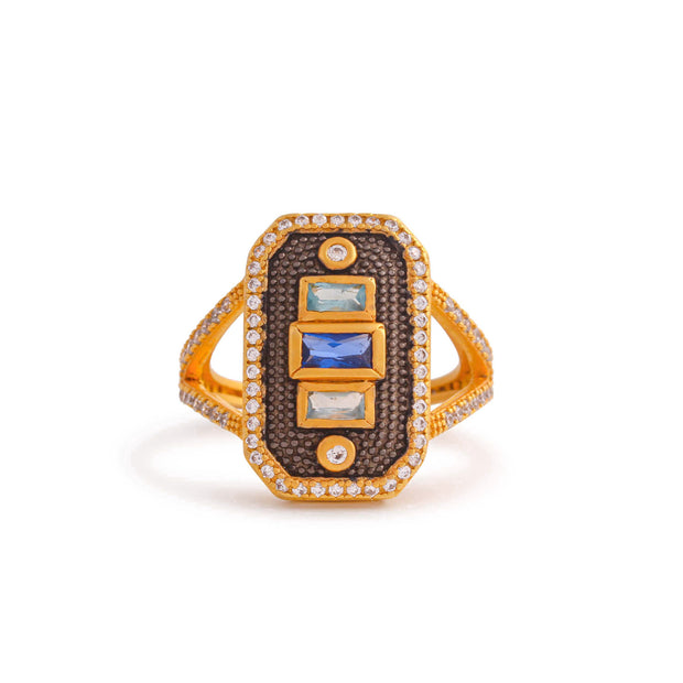 Vertical Stones CZ Ring In Yellow Gold