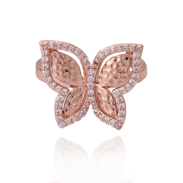 Small Hammered Butterfly Ring In Rose Gold