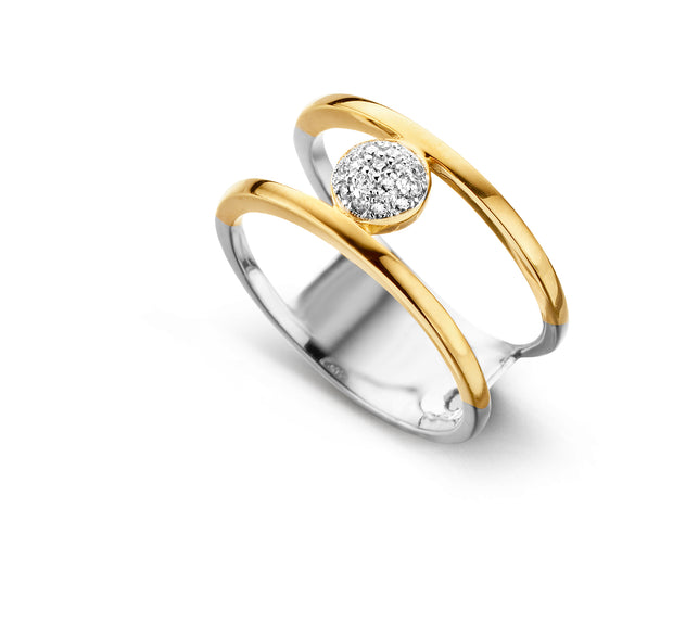 Parallel Bar CZ Ring In Two Tone