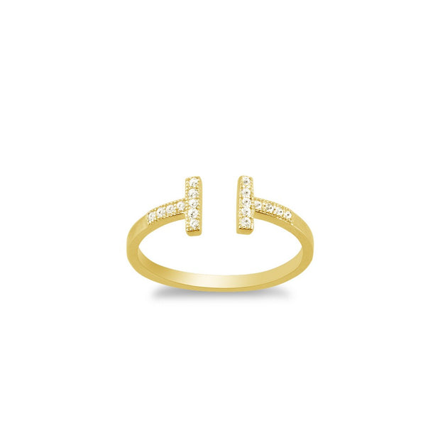 Yellow Gold Cz Double T Ring