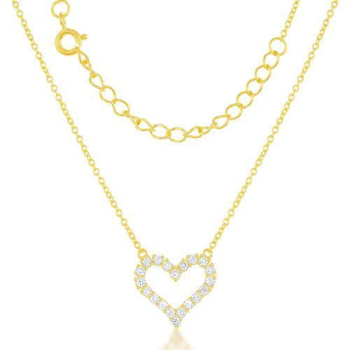 Gold Small Open CZ Straight Heart Necklace