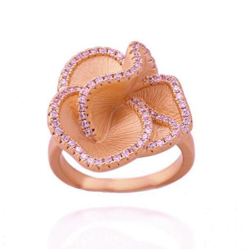 Matte Ruffle Flower Ring In Rose Gold