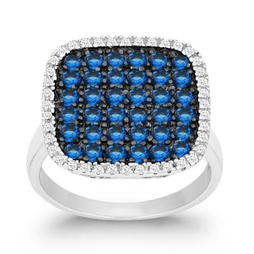 Blue Square Cz Statement Ring