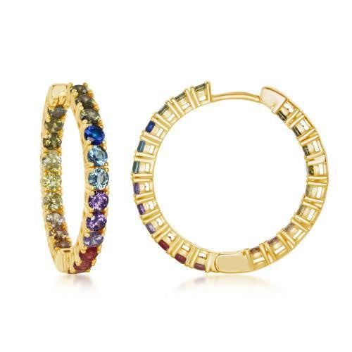 30mm Rainbow CZ Hoops