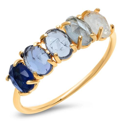 Blue Ombre Rock Crystal Stone Ring