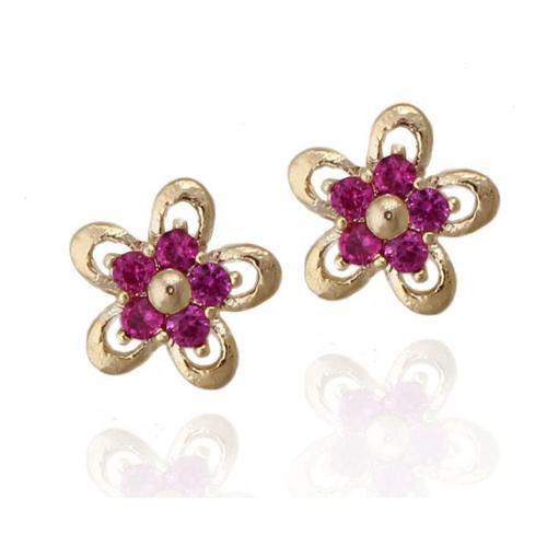 Tiny Gold Fuchsia Flower Studs