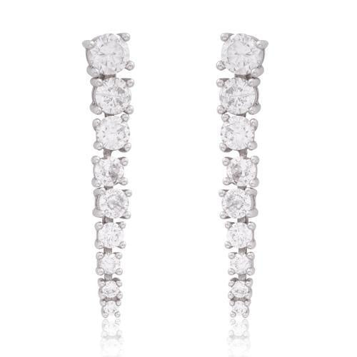White Gold Graduating Cz Line Earring
