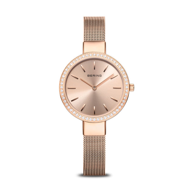 Rose Gold Thin Mesh Band With Stone Border Watch