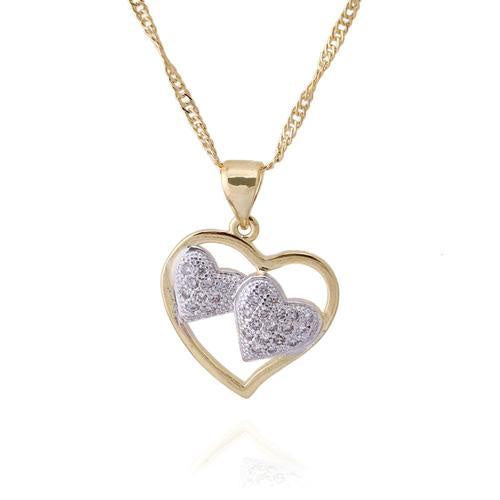 Cz Hearts In Hearts Necklace In Two-Tone