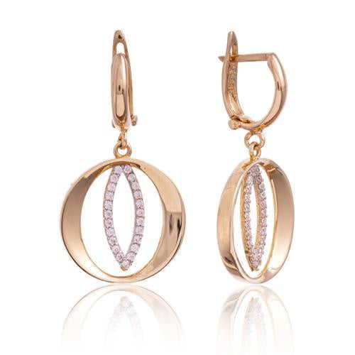 Yellow Gold Polished Cz Circle Marquise Drop Earring