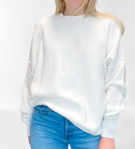 RD Style Knit Sweater in White