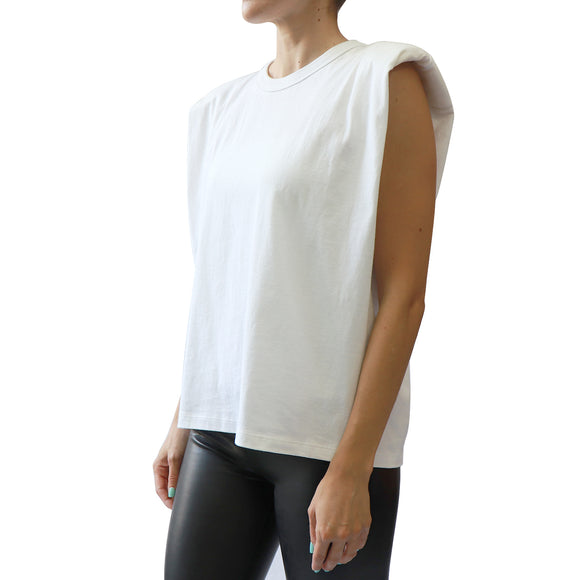 Rd Style Shoulder pad Tank Top In White