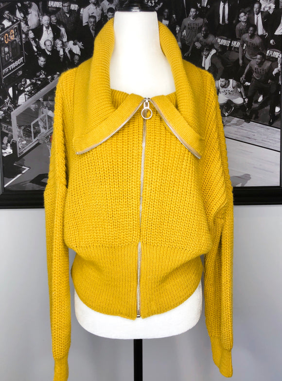 Yellow Zip Up Sweater