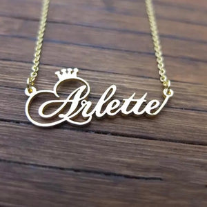 A personalized monogrammed nameplate pendant necklace in gold. Personalized monogrammed nameplate jewelry and necklaces are a great gift idea for women and teenaged girls. Personalized monogrammed nameplate jewelry also makes a great gift purchase for you