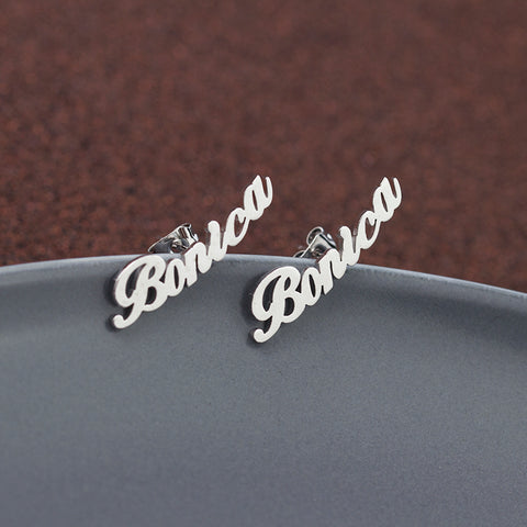 Custom-made Personalized Cursive Nameplate Ear Studs in 18k Gold, Platinum or Cobalt