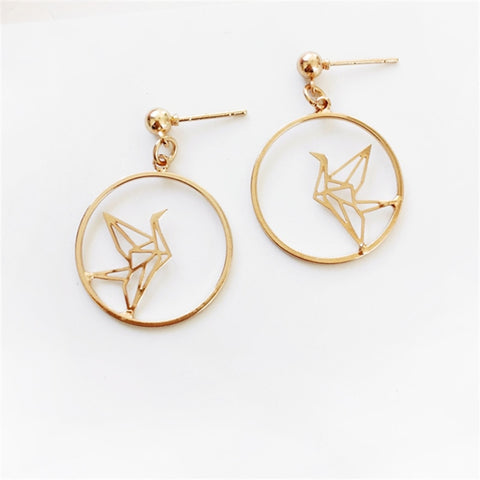 Gold Circular Drop Earrings with inset Crane artwork (stud)