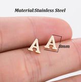 Handmade Alphabet Ear-Studs in Gold, Silver or Cobalt