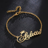 Personalized 'Crowned-Cursive' Nameplate Bracelet in Gold, Silver or Rose Gold