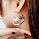 Personalized Nameplate Hoops in Gold, Silver or Rose Gold -  'The Lover'
