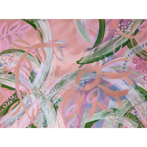 "Ros Gervay Creative Original artwork 72cmW x 52.8cmH / Original Painting / Unframed ""Flamingo Fields"" Original"