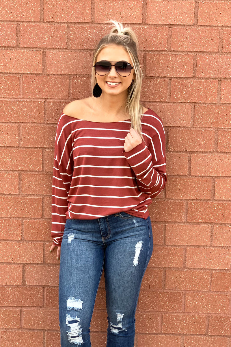 Rust Stripe Boat Neck - Yellow Kiss Boutique