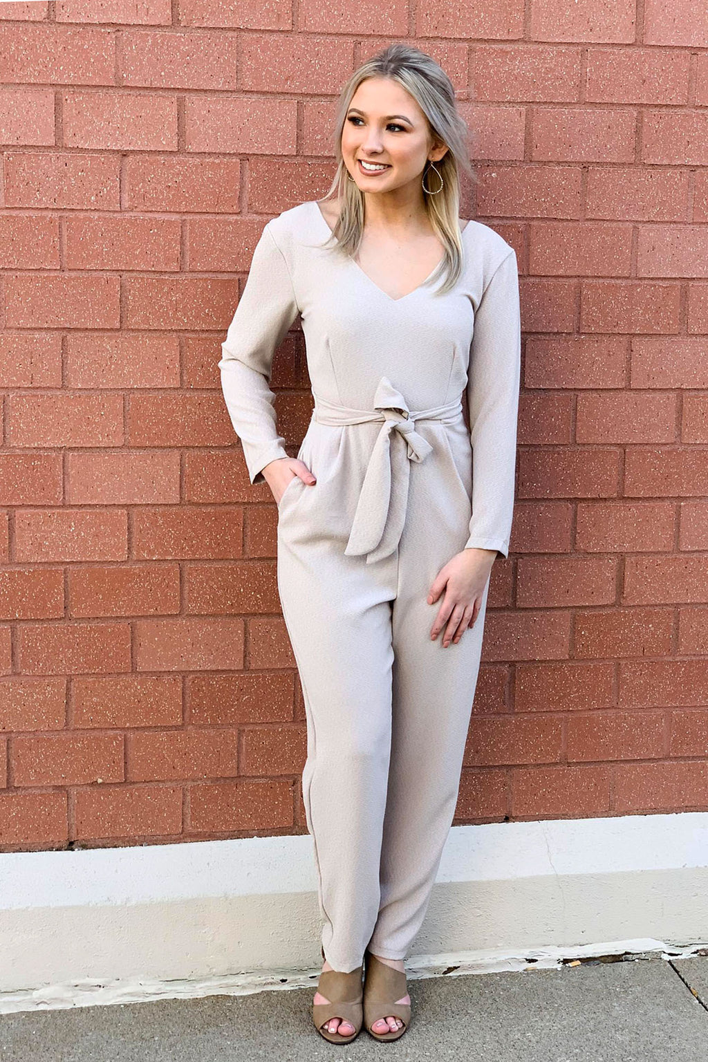 Taupe Jumpsuit - Yellow Kiss Boutique