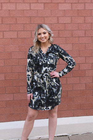 Marble Tie Dye Dress - Yellow Kiss Boutique