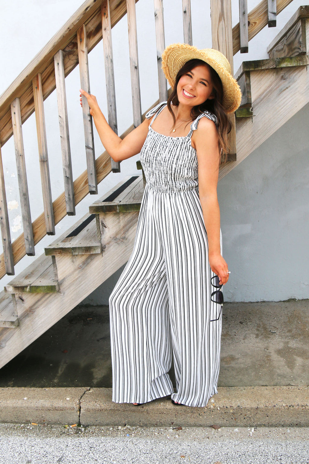 Striped Bow Tie Strap Smock Jumpsuit - Yellow Kiss Boutique