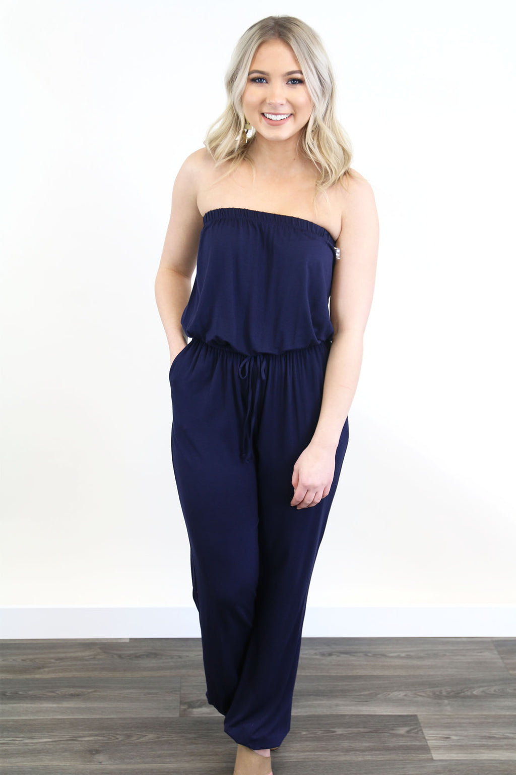Navy Strapless Jumpsuit - Yellow Kiss Boutique