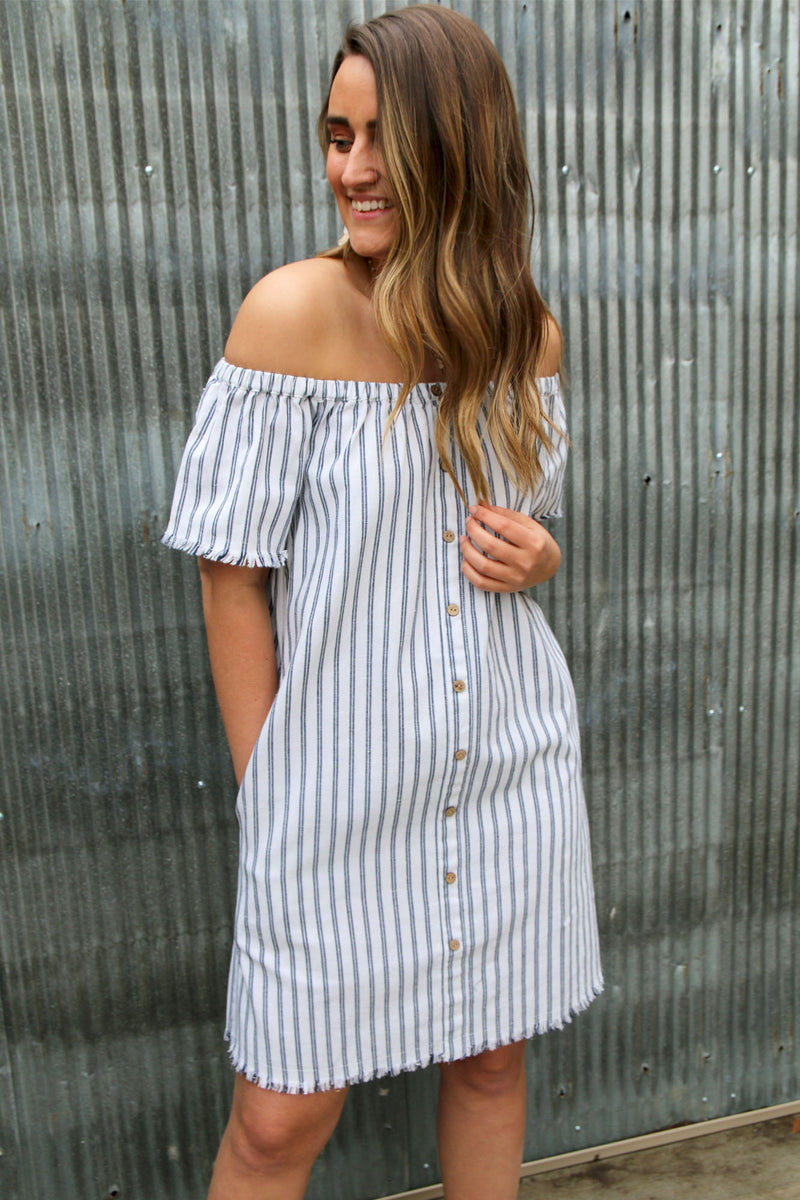 Washed Denim Striped Off The Shoulder Dress - Yellow Kiss Boutique