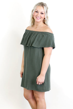 Linen Off The Shoulder Flounce Dress - Yellow Kiss Boutique