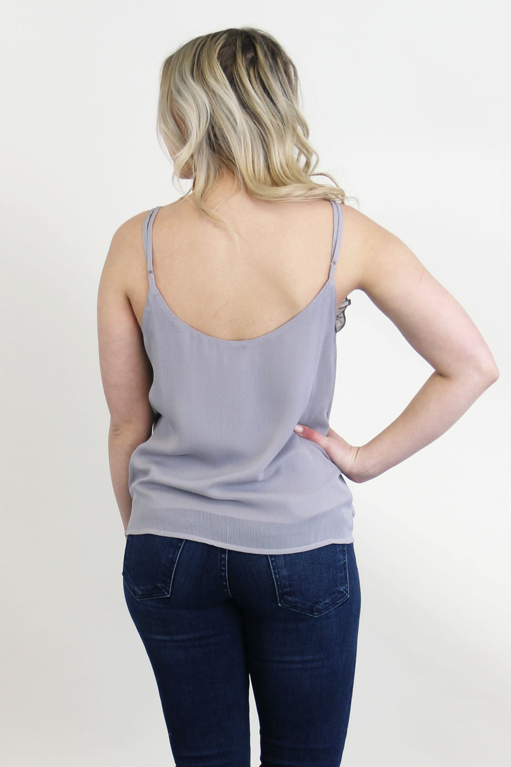 Lettuce Trim Cami Tank Top- Cool Grey - Yellow Kiss Boutique
