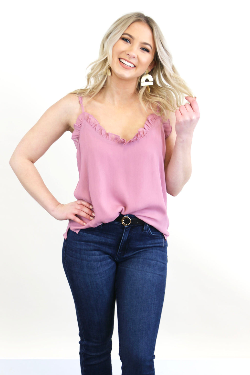 Lettuce Trim Cami Tank Top- Mauve - Yellow Kiss Boutique