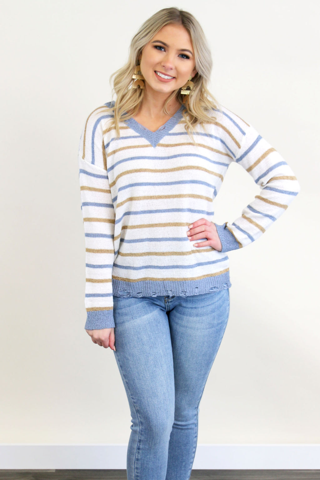Stripe V Neck Sweater - Yellow Kiss Boutique