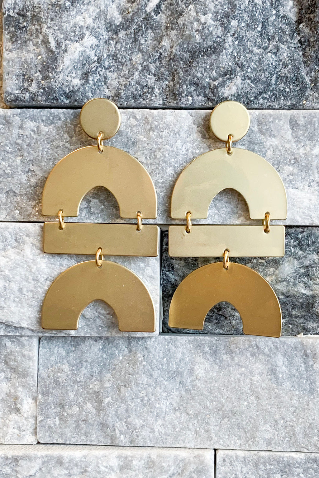 Geometric Drop Earrings- Gold - Yellow Kiss Boutique